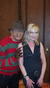Nightmare on Elm Street star Wilcox poses with the man of her dreams. (Photo by Jeff Flynn)