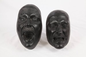 Original face casts of Jeffrey Jones used by the make-up department.  They now adorn my wall.
