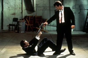 The image that sums up the movie perfectly--men ready to shoot each other.