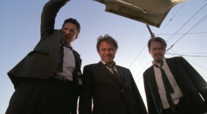 The camerawork in Reservoir Dogs was fresh and exciting.  The steadicam following these dogs out of the building--the music fading behind them--was a technique I'd not noticed before watching this movie.
