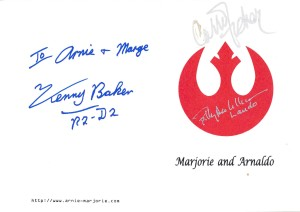 Marjorie and Arnie's wedding invitation, signed by Star Wars celebrities.